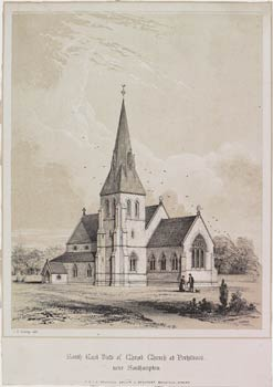South East View of Christ Church, Portswood, Southampton. This picture was produced by the architects of the church, R & J.A. Brandon of Beaufort Buildings, Strand.