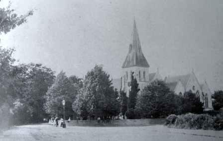 View of Highfield Church from the south east circa 1900. The second extension, of the east end of the church was completed in 1878. This also clearly shows how narrow Highfield Lane was as it goes off between the trees to the left of the photograph.