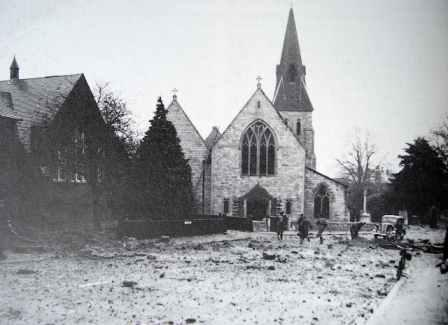 View of the west entrance to Highfield Church following a bombing raid - 1941
