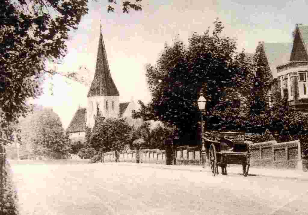 View of Highfield Church from the south east - unknown date This shows Highfield from Highfield Lane, towards Portswood. It was taken after 1883 as the houses on the right do not appear on OS maps of that date. The ivy on the tower reaches almost the same point as the photograph taken in 1900.