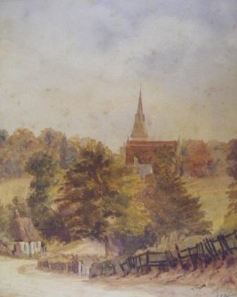 Sketch of the church from the lane behind the church - 1894 The view is probably from somewhere on Portswood Back Lane (now Church Lane).