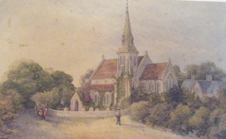 View of Highfield Church from the south west - unknown date This painting is odd as it shows the wall around the churchyard but not north extension to the church which was built before it. The wall was completed in 1899, the extension was completed in 1876.