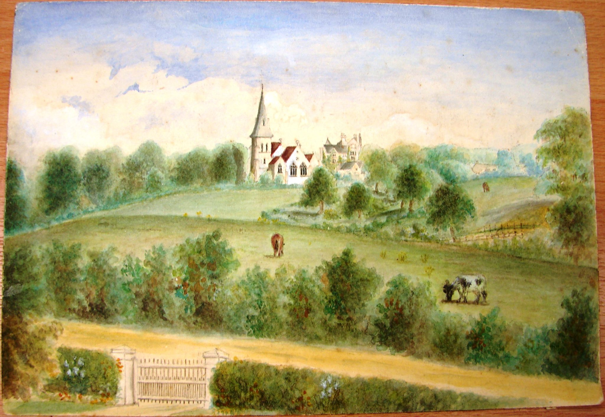 View of Highfield Church from the south east - unknown date This painting shows Highfield as the rural hamlet it once was. The large, chimneyed building visible to the rear of the church is probably the original vicarage built in 1852 (this building can now be found on Cranford Way).